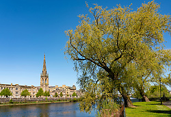 View of city of Perth along Tay Street and River Tay, Perthshire, Scotland, UK