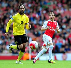 Santi Cazorla of Arsenal plays a pass - Mandatory by-line: Dougie Allward/JMP - 15/05/2016 - FOOTBALL - Emirates Stadium - London, England - Arsenal v Aston Villa - Barclays Premier League