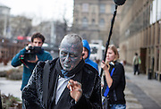 Prof. Vladimír Franz followed by a television crew on his way from the Prague National Opera to a discussion with all Czech presidential candidates at the National Technical Library in Prague Dejvice. Franz is a prominent Czech composer and painter, stage music author and also a registered candidate in the 2013 Czech presidential election.