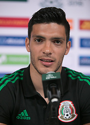 May 25, 2018 - Los Angeles, California, U.S - Raul Jimenez of Mexico's World Cup squad responds to questions from journalists during Mexico Media Day on Friday May 25, 2018 in Beverly Hills, California ahead a pre-World Cup soccer friendly against Wales in Pasadena on May 28. (Credit Image: © Prensa Internacional via ZUMA Wire)