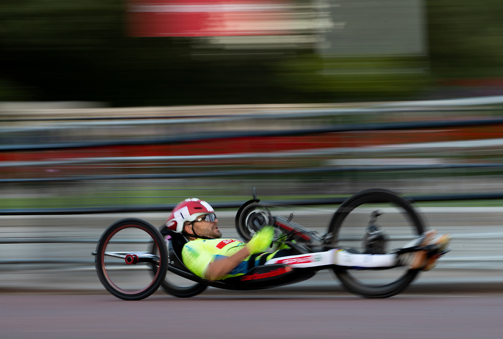 Rafal Wilk, cycles to victory in The Prudential RideLondon Handcycle Grand Prix. Saturday 28th July 2018<br /> <br /> Photo: Jed Leicester for Prudential RideLondon<br /> <br /> Prudential RideLondon is the world's greatest festival of cycling, involving 100,000+ cyclists - from Olympic champions to a free family fun ride - riding in events over closed roads in London and Surrey over the weekend of 28th and 29th July 2018<br /> <br /> See www.PrudentialRideLondon.co.uk for more.<br /> <br /> For further information: media@londonmarathonevents.co.uk
