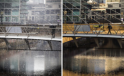 © Licensed to London News Pictures . FILE PICTURE DATED 27/03/2013 . Composite of two photographs showing two views of a pedestrian footbridge crossing the River Irwell in Manchester taken eight hours apart on the same day , which illustrate the unpredictable Spring weather as in the morning a man is pictured with an umbrella in a grey landscape as snow falls all around him whilst , in the afternoon , the same view is bathed in glorious sunshine . Photo credit : Joel Goodman/LNP