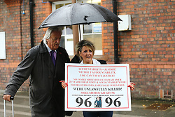 © Licensed to London News Pictures. 28/06/2017. Warrington, UK. Louise Brookes & Michael Mansfield arrive at Parr Hall. Families of the 96 people killed at the Hillsborough disaster in 1989 will today find out if criminal charges will be brought after Prosecutors examining files identified 23 criminal suspects. Families will be informed of the decisions by Sue Hemming, CPS Head of Special Crime & Counter-Terrorism at Parr Hall in Warrington. Photo credit: Andrew McCaren/LNP