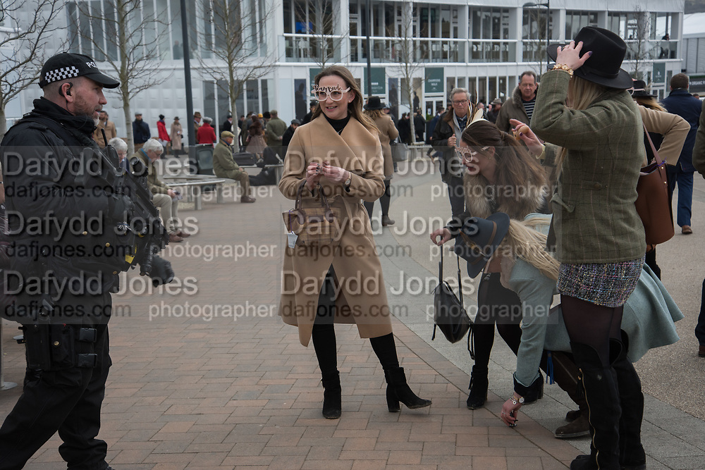 HEN PARTY WITH WIND-UP PENISES AND ARMED POLICEMAN, Ladies Day, Cheltenham Festival, 13 March 2019