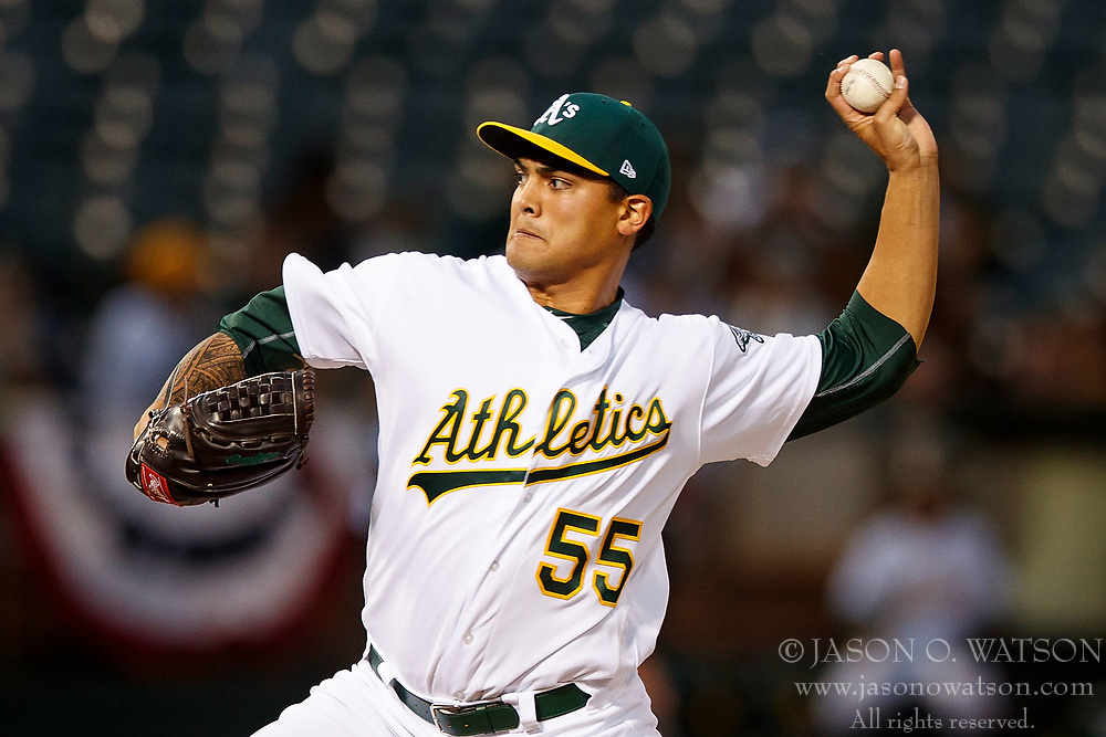 OAKLAND, CA - APRIL 04:  Sean Manaea #55 of the Oakland Athletics pitches against the Los Angeles Angels of Anaheim during the second inning at the Oakland Coliseum on April 4, 2017 in Oakland, California. (Photo by Jason O. Watson/Getty Images) *** Local Caption *** Sean Manaea