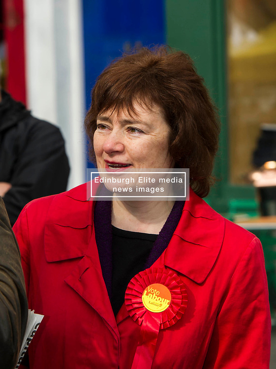 Pictured: Sarah Boyack<br /> <br /> Scottish Labour deputy leader Alex Rowley was joined by the party's environment spokeswoman Sarah Boyack and party activists at a farmers' market in the Grassmarket, Edinburgh today. <br /> <br /> Ger Harley | EEm 1 April 2016