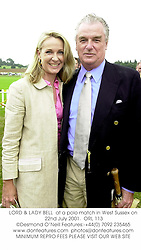 LORD & LADY BELL  at a polo match in West Sussex on 22nd July 2001.<br />