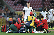 11 June 2016, South African Captain Adriaan Strauss look on as the Medical staff tend to the injured Patrick Lambie during the South Africa versus Ireland Test Match at Newlands Stadium,  Cape Town, SOUTH AFRICA.<br /> <br /> <br /> Photo by:Luigi Bennett/Image SA