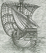 Portuguese Man of War.  In similar ships skirting the coasts, the Portuguese have achieved their famous voyages.  Around 1270 the compass, being box and needle combined, began to be more freely used by mariners and greatly benefitted the making of more exact sea maps.