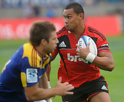 Crusaders, Robbie Fruean looks to bust the highlanders line, Investec Super Rugby - Highlanders v Crusaders, 19 March 2011, Carisbrook Stadium, Dunedin, New Zealand.Photo: New Zealand. Photo: Richard Hood/www.photosport.co.nz