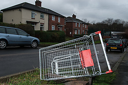 Supermarket trolly dumped on Wyborne housing estate, Sheffield