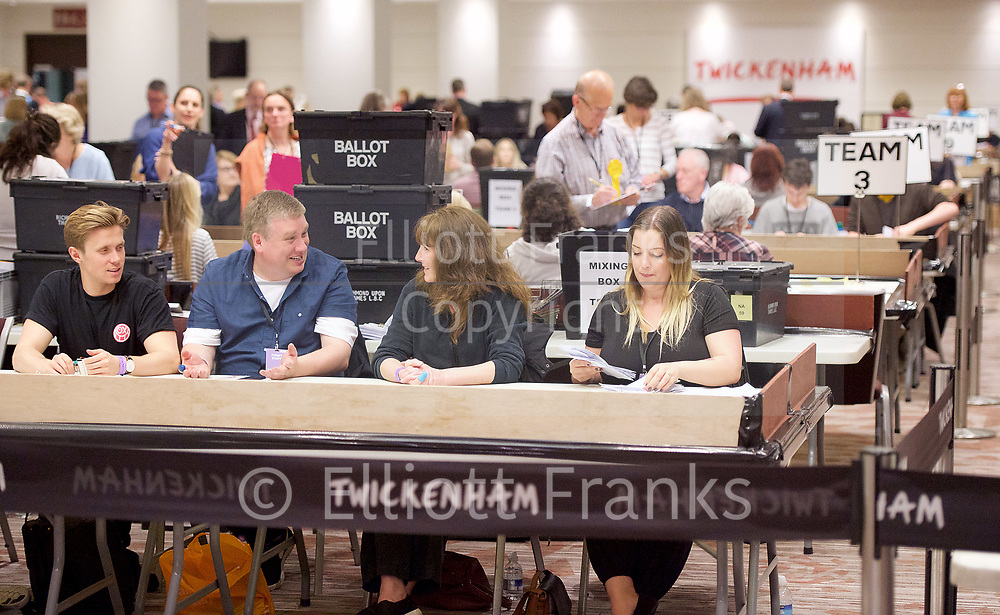 General Election count for the Twickenham &amp; Richmond Park constituencies at the Twickenham Rugby Stadium, Twickenham, Middlesex, Great Britain <br /> 8th June 2017 <br /> <br /> Candidates as follows:<br /> <br /> Twickenham <br /> <br /> Tania Mathias <br /> Conservative <br /> <br /> Vince Cable <br /> Liberal Democrat <br /> <br /> Katherine Dunne<br /> Labour <br /> <br /> &mdash;&mdash;&mdash;&mdash;&mdash;<br /> <br /> Richmond Park <br /> <br /> Zac Goldsmith <br /> Conservative<br /> <br /> Sarah Olney <br /> Liberal Democrat <br /> <br /> Cate Tuitt <br /> Labour <br /> <br /> Peter Jewell <br /> UKIP <br /> <br /> Photograph by Elliott Franks <br /> Image licensed to Elliott Franks Photography Services