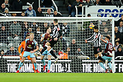 Ayoze Perez (#17) of Newcastle United heads a cross over the bar during the Premier League match between Newcastle United and Burnley at St. James's Park, Newcastle, England on 31 January 2018. Photo by Craig Doyle.