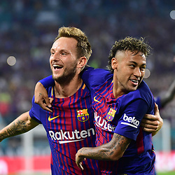 (L-R) Ivan Rakitic of Barcelona is congratulated by Neymar Jr of Barcelona after putting his side 2-0 ahead during the International Champions Cup match between Barcelona and Real Madrid at Hard Rock Stadium on July 29, 2017 in Miami Gardens, Florida. (Photo by Dave Winter/Icon Sport)