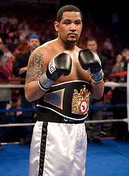 Apr 6, 2007; Uncasville, CT, USA; Matt Godfrey poses after knocking out Felix Cora Jr. in the second round of their 12 round NABF and NABA Cruiserweight title bout at the Mohegan Sun Arena.