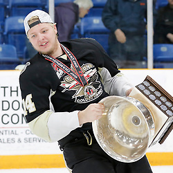 TRENTON, ON  - MAY 6,  2017: Canadian Junior Hockey League, Central Canadian Jr. &quot;A&quot; Championship. The Dudley Hewitt Cup Championship Game between The Trenton Golden Hawks and The Georgetown Raiders. Rex Moe #14 of the Trenton Golden Hawks during post game celebrations. <br /> (Photo by Amy Deroche / OJHL Images)