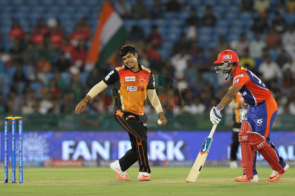 Karn Sharma of the Sunrisers Hyderabad reacts during match 45 of the Pepsi IPL 2015 (Indian Premier League) between The Delhi Daredevils and the Sunrisers Hyderabad held at the Shaheed Veer Narayan Singh International Cricket Stadium in Raipur, India on the 9th May 2015.<br /> <br /> Photo by:  Deepak Malik / SPORTZPICS / IPL
