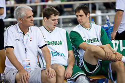 Dr. Slobodan Macura, Goran Dragic (11) of Slovenia and Domen Lorbek (13) of Slovenia before the EuroBasket 2009 Group F match between Slovenia and Turkey, on September 16, 2009 in Arena Lodz, Hala Sportowa, Lodz, Poland.  (Photo by Vid Ponikvar / Sportida)