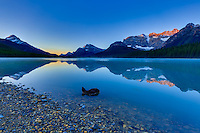Alpenglow on the mountain peaks surrounding Upper Waterfowl Lake at Sunrise with the mountains reflected the glassy calm waters of the lake.<br /> <br /> &copy;2015, Sean Phillips<br /> http://www.RiverwoodPhotography.com