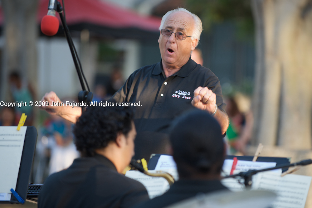 Wayne Brashear, Director of Instrumental Jazz conducts the Big Band during the Long Beach City College Summer Jazz Concert at the Liberal Arts Lawn on Wednesday July 22, 2009.