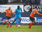 Barnet player John Akinde try to find room in the first half during the EFL Sky Bet League 2 match between Luton Town and Barnet at Kenilworth Road, Luton, England on 24 March 2018. Picture by Ian  Muir.during the EFL Sky Bet League 2 match between Luton Town and Barnet at Kenilworth Road, Luton, England on 24 March 2018. Picture by Ian  Muir.