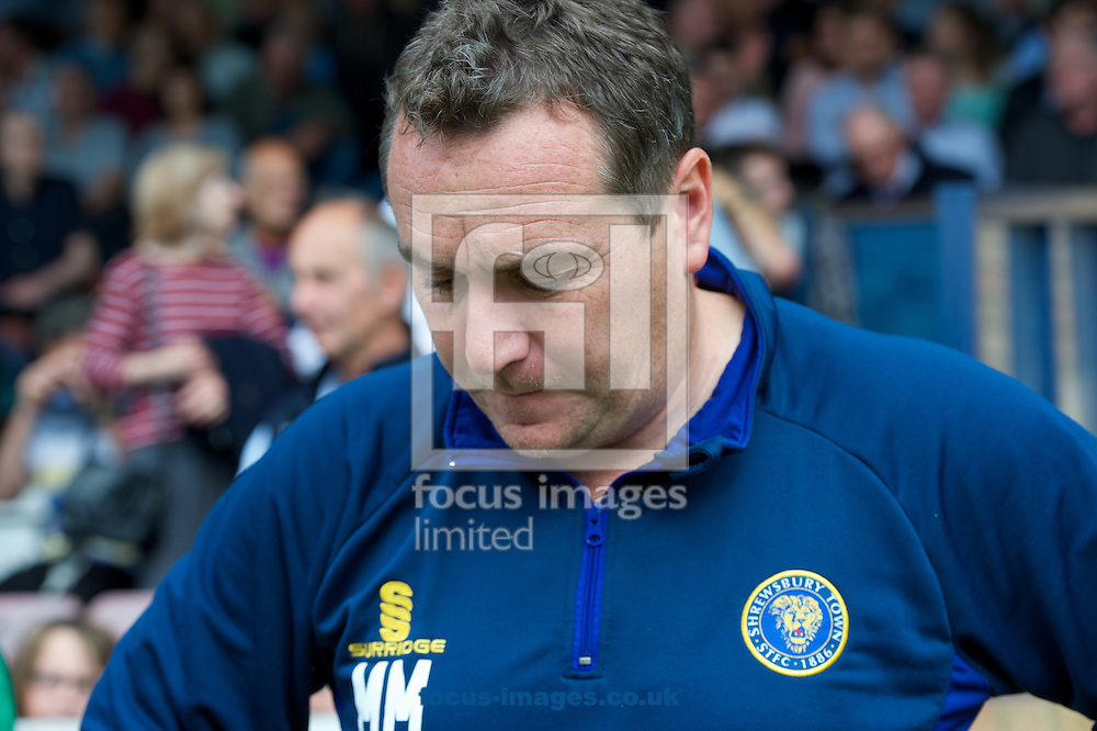 Manager Micky Mellon of Shrewsbury Town during the Sky Bet League 2 match at Roots Hall, Southend<br /> Picture by Alan Stanford/Focus Images Ltd +44 7915 056117<br /> 27/09/2014