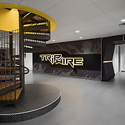 Black and yellow office interior with spiral stair.