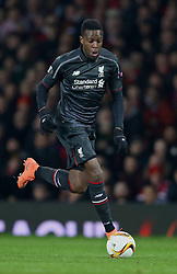 MANCHESTER, ENGLAND - Wednesday, March 16, 2016: Liverpool's Divock Origi in action against Manchester United during the UEFA Europa League Round of 16 2nd Leg match at Old Trafford. (Pic by David Rawcliffe/Propaganda)