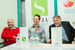 Andrej Krasevec, Blaz Kavcic and Marko Umberger  at press conference during Istenic doubles Tournament and Slovenian Tennis personality of the year 2014 annual awards presented by Slovene Tennis Association TZS , on December 6, 2014 in Millenium Centre, BTC, Ljubljana, Slovenia. Photo by Vid Ponikvar / Sportida