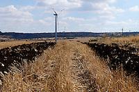 Pale Eoliche nella campagna nei dintorni di Minervino Murge. Campo dissodato nei dintorni di una pala eolica.