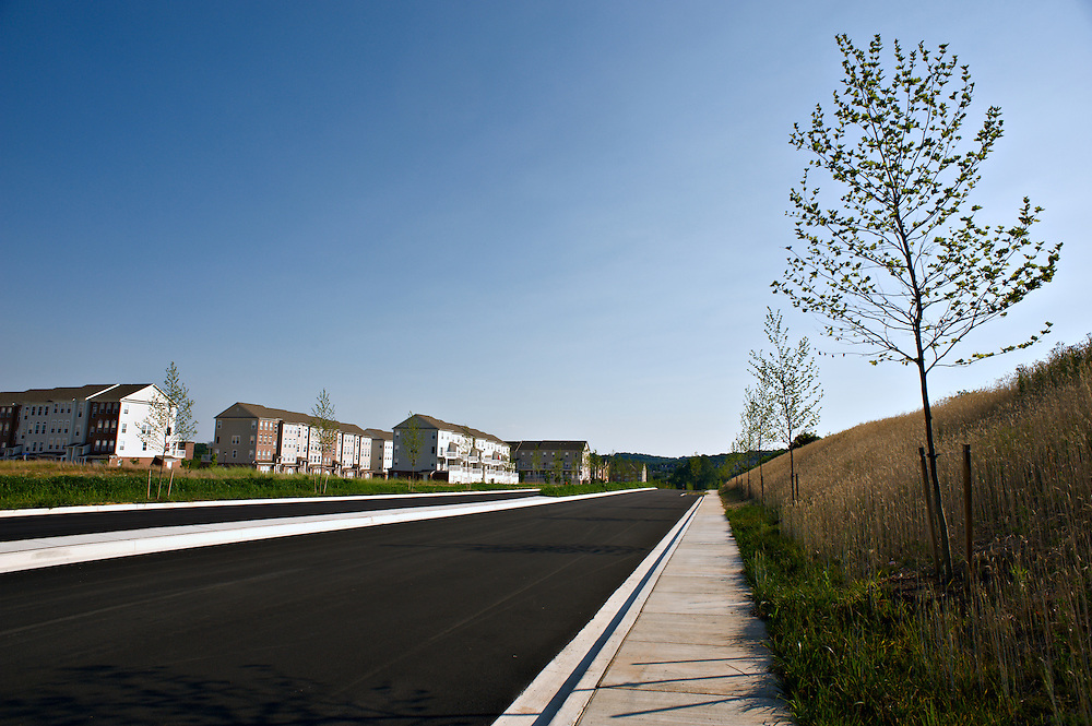 New condos,pavement and sidewalk, near Pleasant Hill Road, Owings Mills, Maryland
