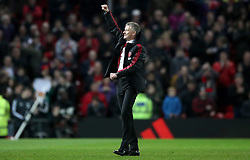 Manchester United Interim Manager Ole Gunnar Solskjaer celebrates the results after the full time whistle