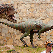 Dinosaur statues abound in the city of Sucre, Bolivia. Situated near a large excavation site with dinosaur footprints, the city has adopted dinosaurs as public art.