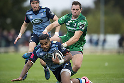 September 23, 2017 - Galway, Ireland - Rey Lee-Lo of Cardiff tackled by Craig Ronaldson of Connacht during the Guinness PRO14 Conference A match between Connacht Rugby and Cardiff Blues at the Sportsground in Galway, Ireland on September 23, 2017  (Credit Image: © Andrew Surma/NurPhoto via ZUMA Press)