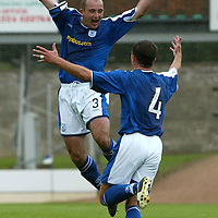 St Johnstone v Raith Rovers...28.08.04<br />Kevin Fotheringham celebrates his goal with David Hannah<br /><br />Picture by Graeme Hart.<br />Copyright Perthshire Picture Agency<br />Tel: 01738 623350  Mobile: 07990 594431