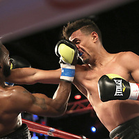 Alphonso Black (L) catches Daniel Rosario in the face during a Telemundo Boxeo boxing match at the A La Carte Pavilion on Friday,  March 13, 2015 in Tampa, Florida. Rosario won the bout by TKO.  (AP Photo/Alex Menendez)
