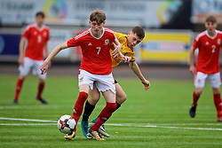 MERTHYR TYDFIL, WALES - Thursday, November 2, 2017: Wales' Sam Reynolds and Newport County's Sam Roberts during an Under-18 Academy Representative Friendly match between Wales and Newport County at Penydarren Park. (Pic by David Rawcliffe/Propaganda)