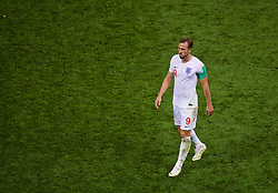 MOSCOW, RUSSIA - Wednesday, July 11, 2018: England's captain Harry Kane walks off dejected after the FIFA World Cup Russia 2018 Semi-Final match between Croatia and England at the Luzhniki Stadium. Croatia won 2-1 after extra-time. (Pic by David Rawcliffe/Propaganda)