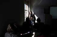 Lampedusa, Italia - La professoressa  Rosaria Tropia durante una lezione presso il liceo scientifico Luigi Pirandello di Lampedusa.<br /> Ph. Roberto Salomone