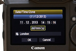 """© Licensed to London News Pictures . 11/12/2013 . Manchester , UK . A camera's time display on 11th December 2013 at 14:15:16 GMT . Today is """" Sequential Day """" the last day this century that the time and date will be made of six sequential numbers . Photo credit : Joel Goodman/LNP"""