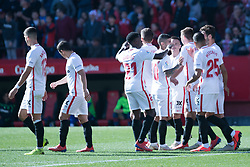 January 26, 2019 - Sevilla, Andalucia, Spain - Sevilla players celebrate the 3rd goa from Sevilla FC during the La Liga match between Sevilla FC v Levante UD at the Ramon Sanchez Pizjuan Stadium on January 26, 2019 in Sevilla, Spain  (Credit Image: © Javier MontañO/Pacific Press via ZUMA Wire)