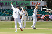 Logan van Beek has Dieter Klein caught first ball during the Specsavers County Champ Div 2 match between Leicestershire County Cricket Club and Derbyshire County Cricket Club at the Fischer County Ground, Grace Road, Leicester, United Kingdom on 28 May 2019.