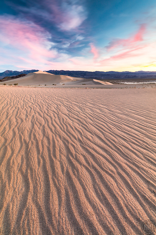 """""""Sunset at Ibex Dunes 2"""" - Colorful sunset photograph of ripples in the sand at the Ibex Sand Dunes in Death Valley, California."""
