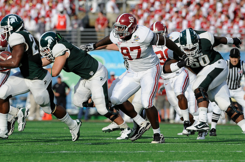 January 1, 2011: Brandon Moore of the Alabama Crimson Tide in action during the NCAA football game between Michigan State Spartans and the Alabama Crimson Tide at the 2011 Capital One Bowl in Orlando, Florida. Alabama defeated Michigan State 49-7.