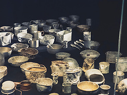 """Metal dishes used by the former prisoners of concentration camp, KZ Buchenwald"""", Ettersberg, Weimar, Thueringen, Germany"""