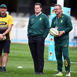 DURBAN, SOUTH AFRICA - AUGUST 18: Jacques Nienaber (Defence Coach) of South Africa with Rassie Erasmus (Head Coach) of South Africa and Swys de Bruin (consultant) and Emirates Lions head coach during the Rugby Championship match between South Africa and Argentina at Jonsson Kings Park on August 18, 2018 in Durban, South Africa. (Photo by Steve Haag/Gallo Images)