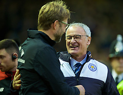 LIVERPOOL, ENGLAND - Boxing Day, Saturday, December 26, 2015: Liverpool's manager Jürgen Klopp and Leicester City's Claudio Ranieri before the Premier League match at Anfield. (Pic by David Rawcliffe/Propaganda)