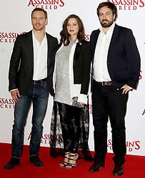 © Licensed to London News Pictures. 08/12/2016. London, UK, Michael Fassbender; Marion Cotillard; Josh Kurzel, Assassin's Creed - London Photocall, Photo credit: Brett Cove/LNP