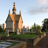 Early morning in Oakland Cemetery at 248 Oakland Ave. SE in Atlanta, Georgia, USA, North America. This Victorian cemetery was founded in 1850 and is listed on the National Register of Historic Places.