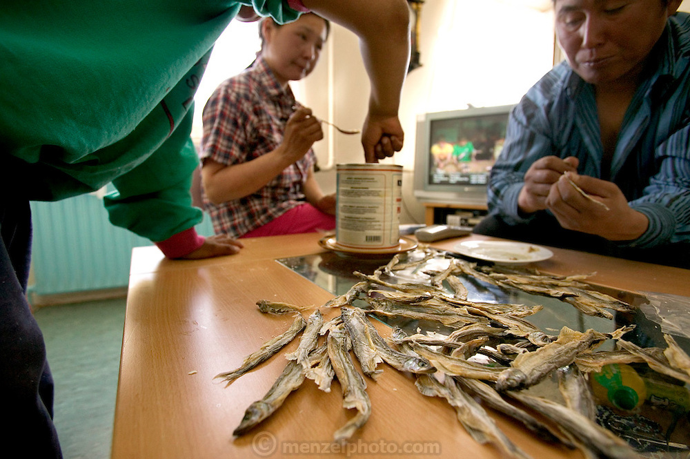 (MODEL RELEASED IMAGE). Having just returned from a seal hunting trip, Erika and Emil Madsen slather narwhal oil on dried fish for a snack in the living room of their home, with MTV on in the background. (Supporting image from the project Hungry Planet: What the World Eats.)